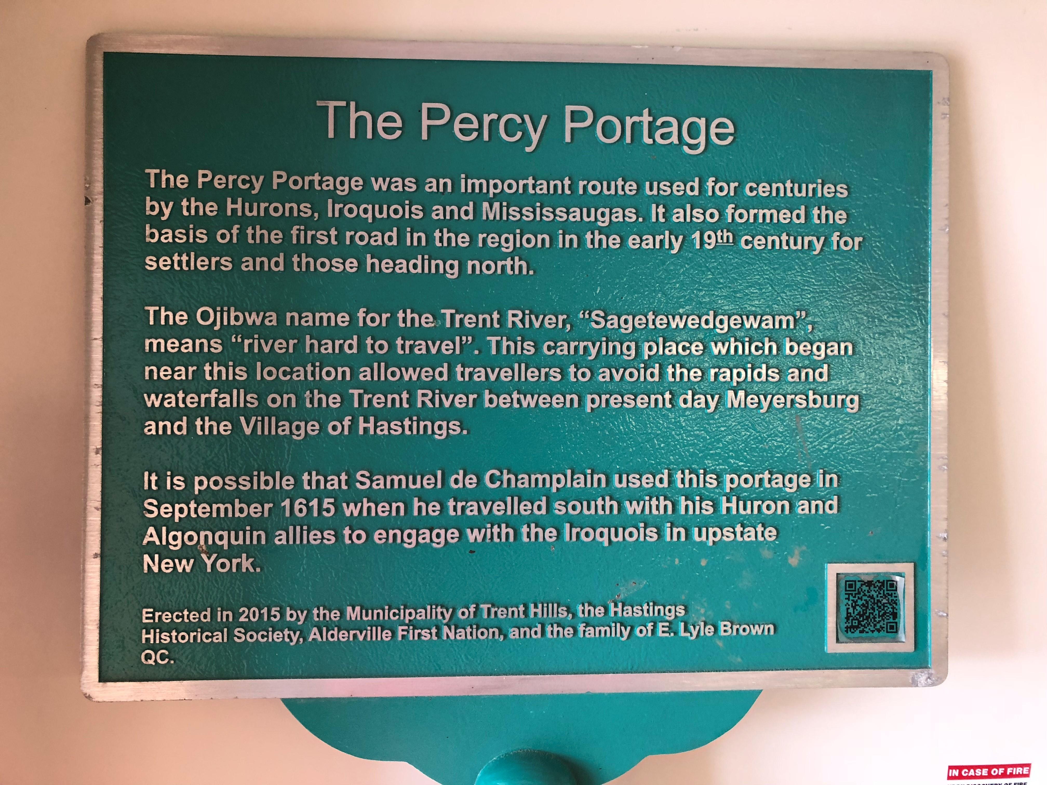Percy Portage Historical Plaque Percy Boom Road